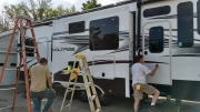 Waxing the camper
