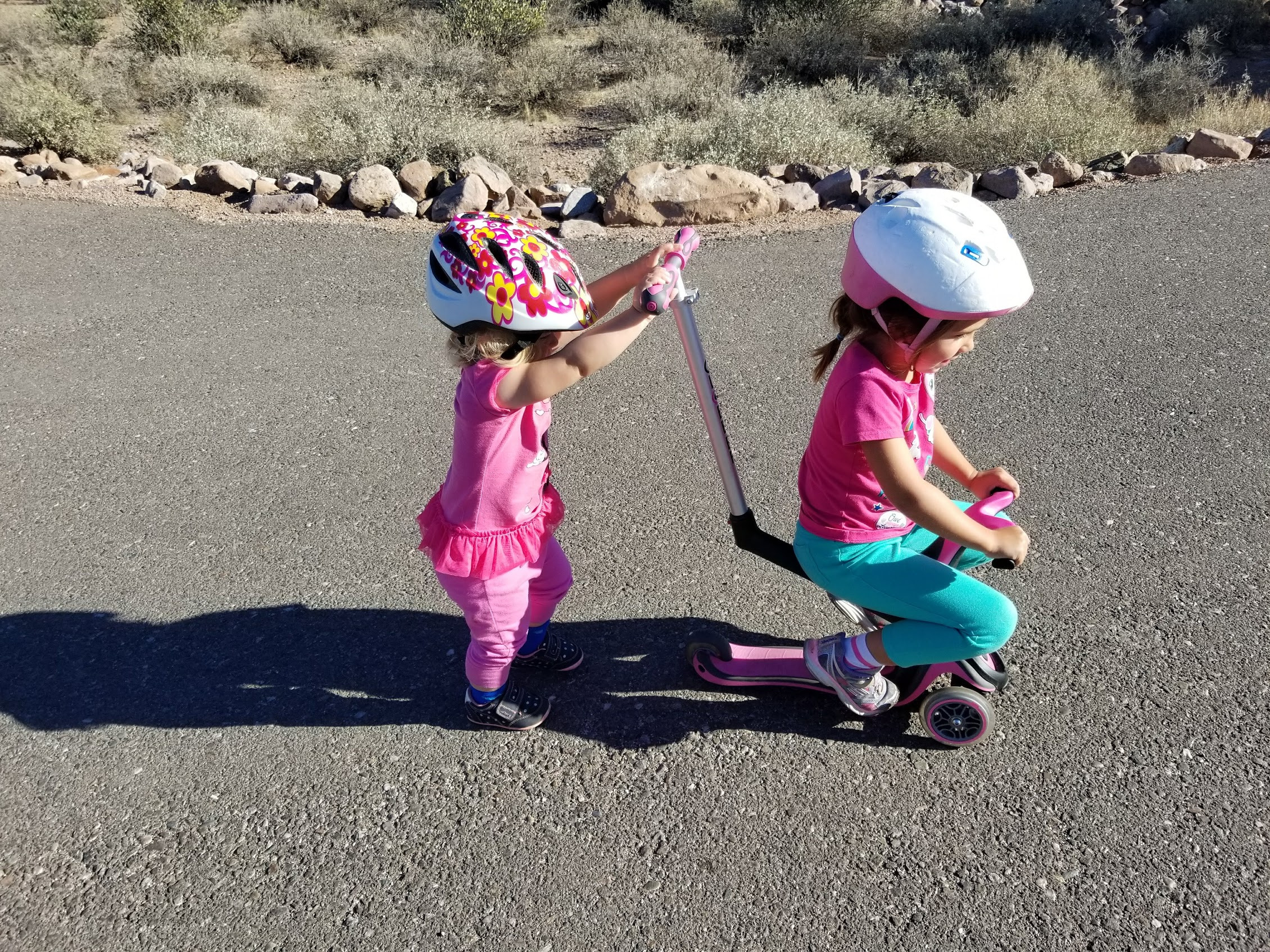 Eliza pushing Eloise on scooter