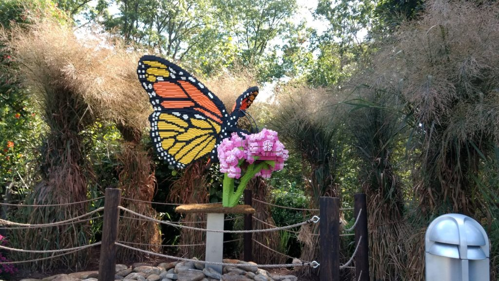 Lego butterfly scuplture at the arboretum